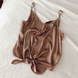 Satin tank top with front tie